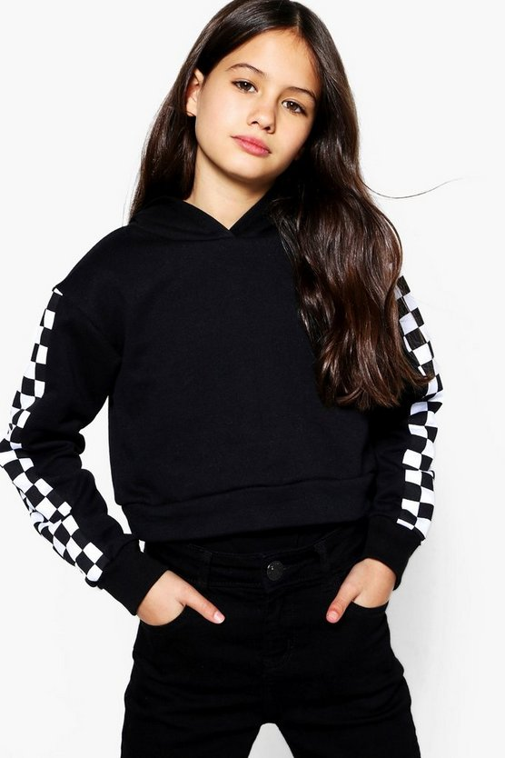 Girls Checkerboard Sleeve Hooded Sweat Top