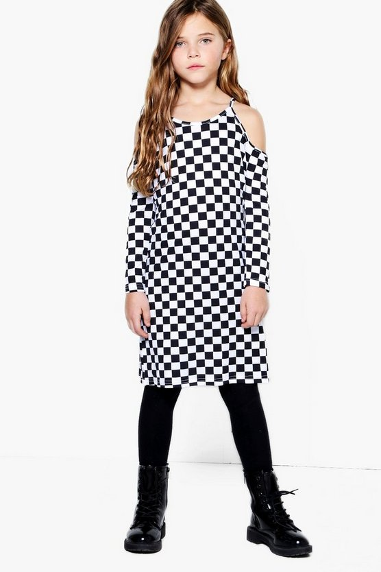 Girls Checkerboard Cold Shoulder Dress