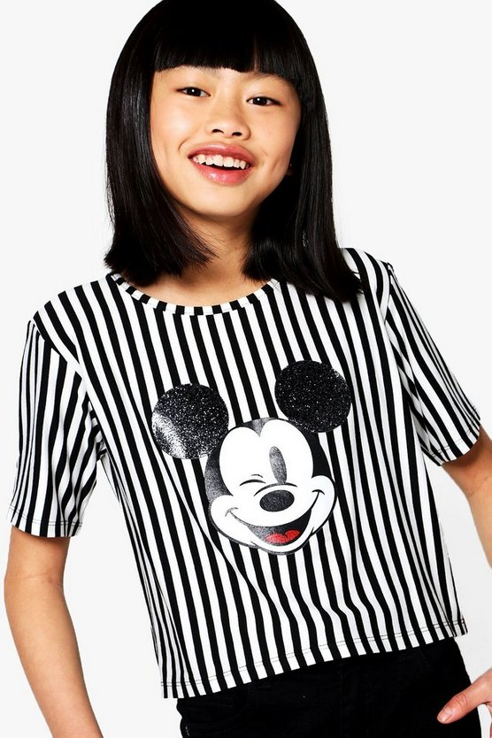 Girls Glitter Ears Stripe Cropped Tee