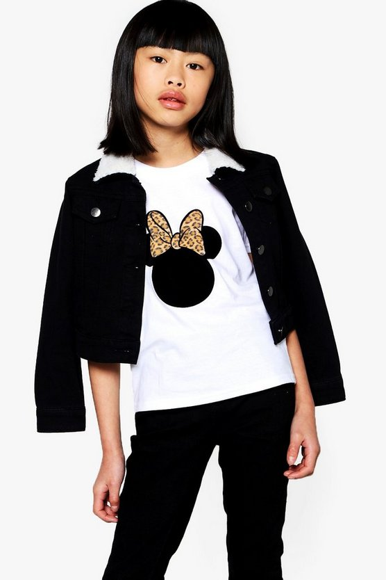 Girls Disney Minnie Leopard Print Bow Tee