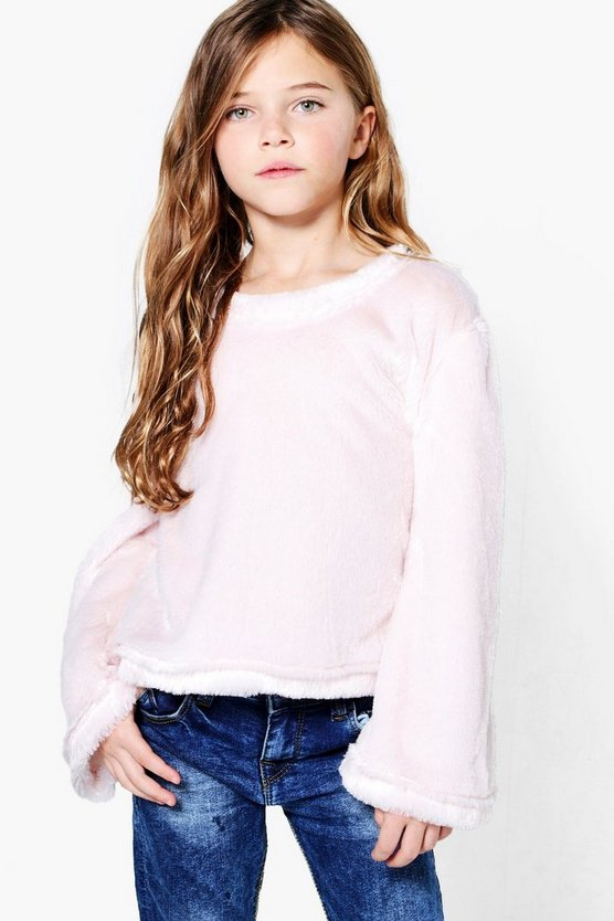Girls Faux Fur Jumper Wide Sleeve