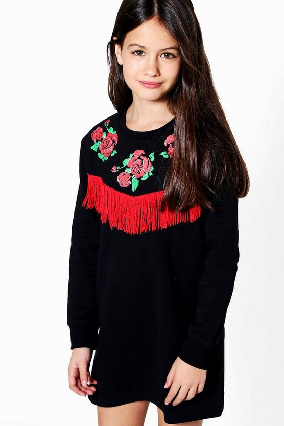Girls Rose Printed Tassel Sweat Dress