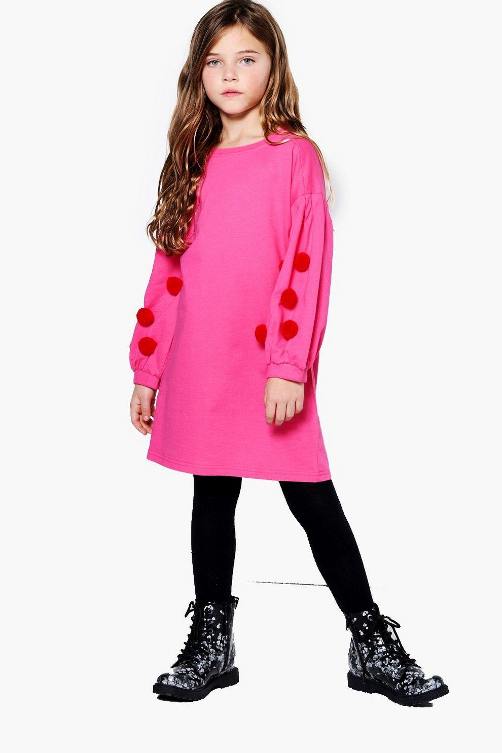 Suéter con adorno tipo vestido con pompones para niña | Boohoo