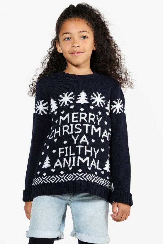 Girls Merry Christms Ya Filthy Animal Jumper
