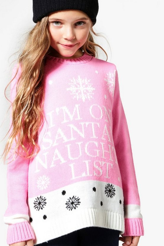 Girls I'm On Santa's Naughty List Knit Jumper