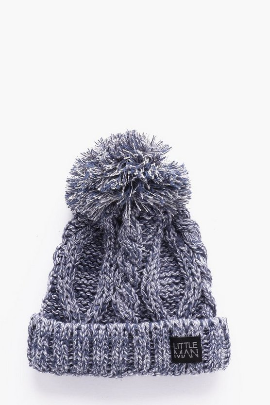 Boys Cable Turn Up Bobble Beanie
