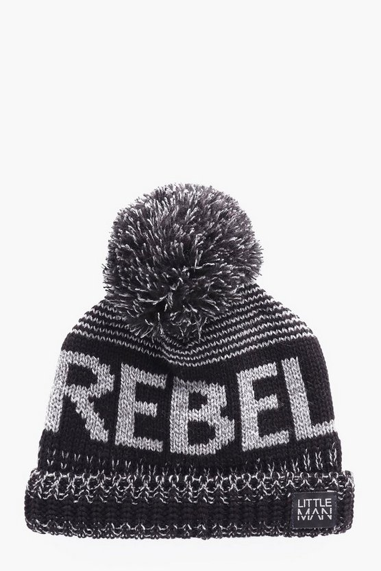 Boys Rebel Slogan Beanie