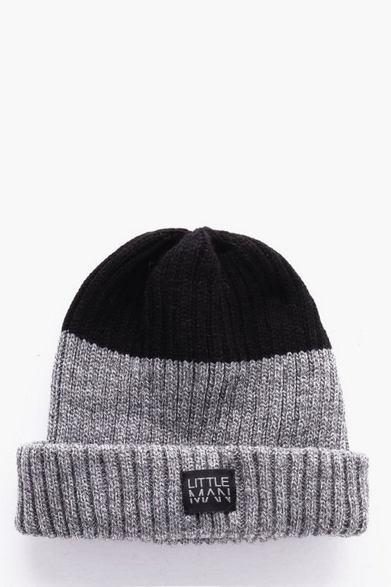 Boys Ribbed Colour Block Beanie