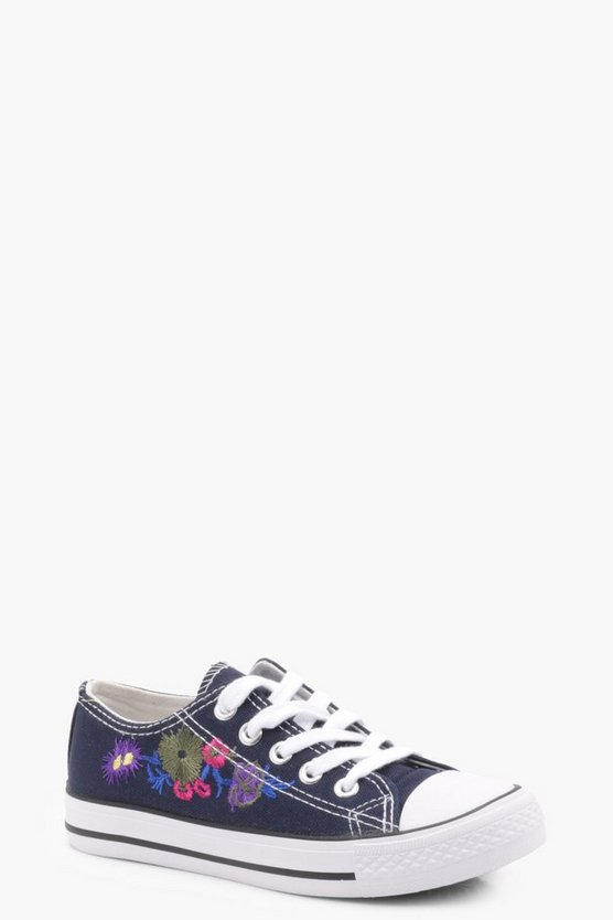 Girls Embroidered Lace Up Canvas Trainers
