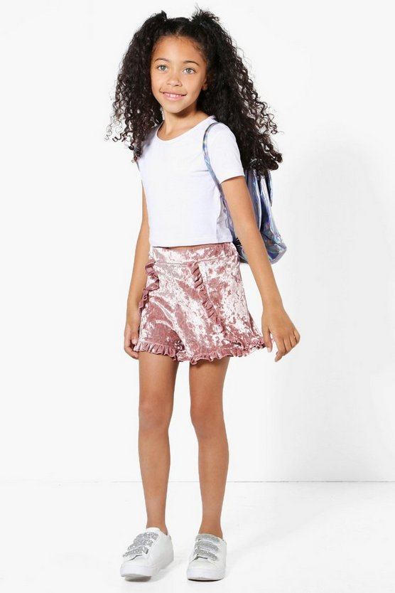 Girls Velour Frill Shorts