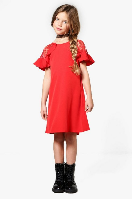 Girls Lace Insert Ruffle Dress
