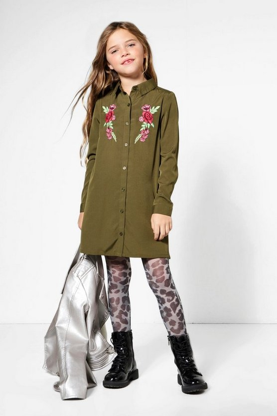 Girls Embroidered Patch Shirt Dress