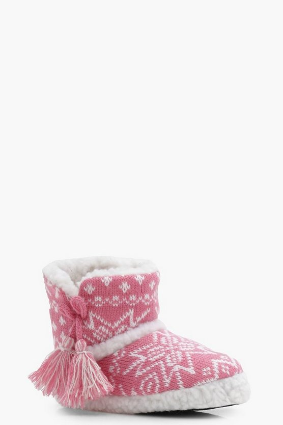 Girls Christmas Fairisle Slipper Boot