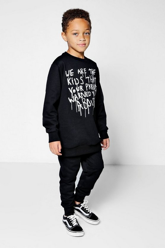 Boys Crew Neck Warning Jogger Set