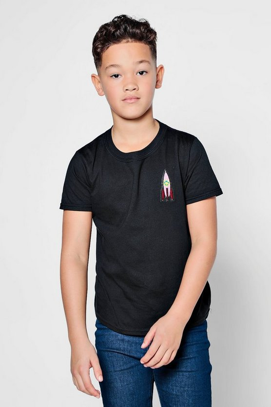 Boys Rocket Embroidered T-Shirt
