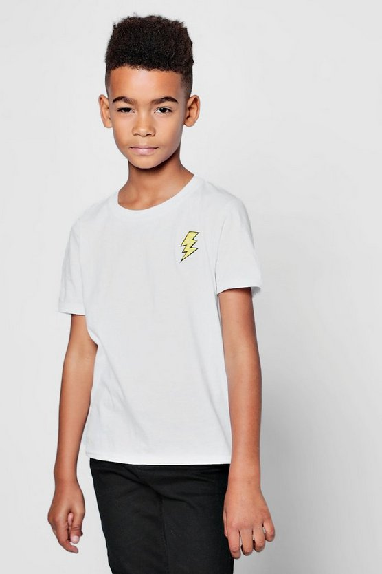 Boys Lightening Bolt Embroidered T-Shirt