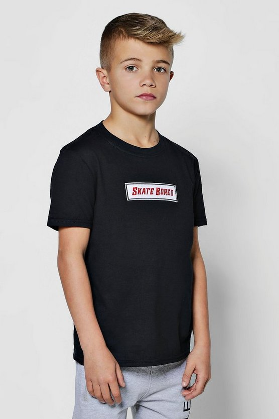 Boys Skate Bored Embroidered T-Shirt