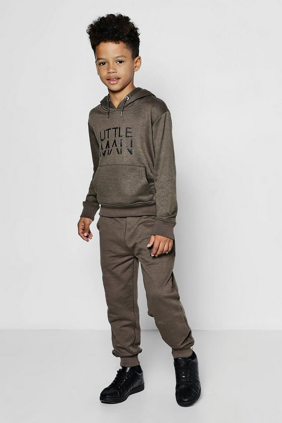 Boys Little Man Hooded Tracksuit
