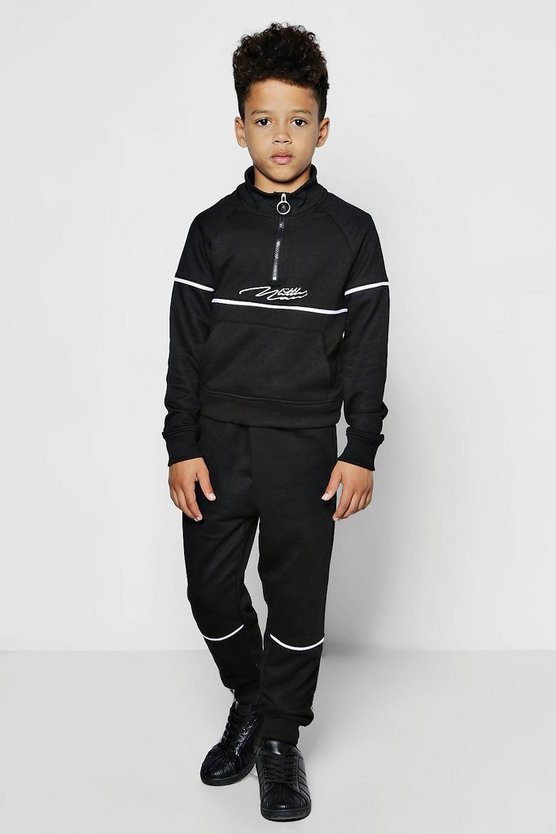 Boys Little Man Zip Neck Sweat & Jogger Set