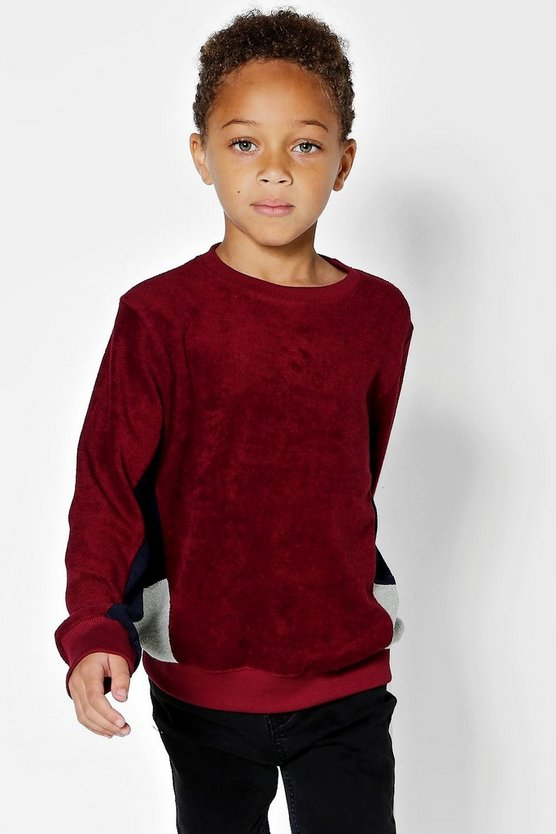 Boys Cut + Sew Sweater In Towelling