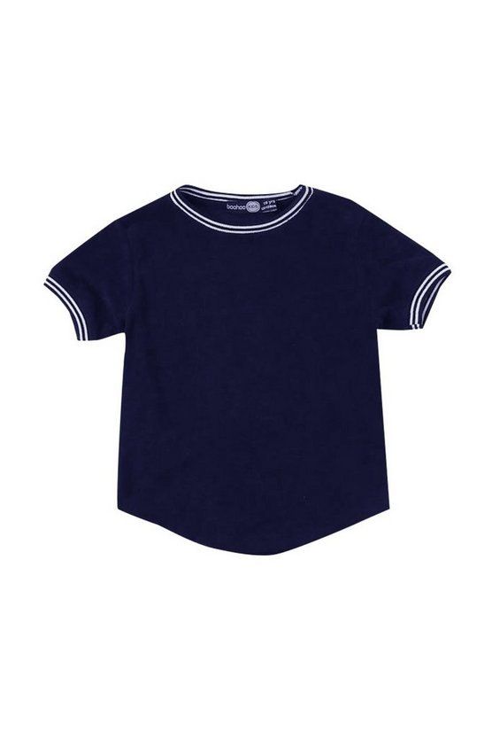 Boys Towelling T-Shirt With Sports Rib