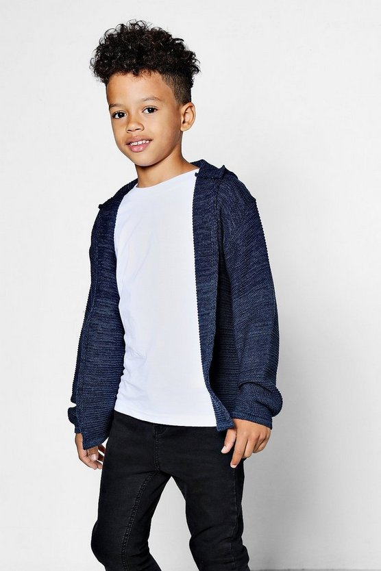 Boys Colour Block Hooded Cardigan