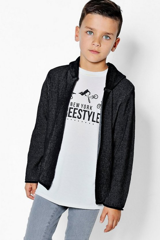 Boys Ribbed Contrast Hooded Cardigan
