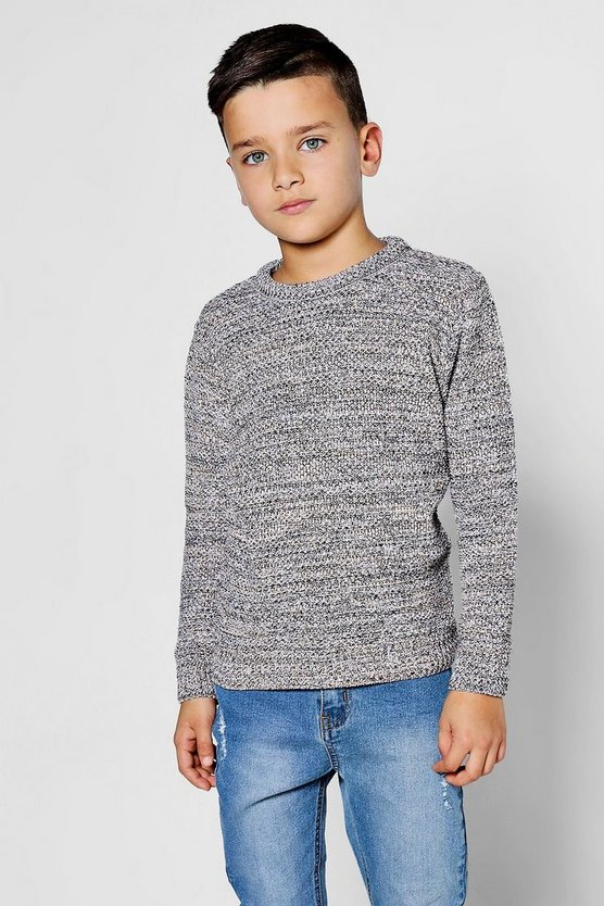 Boys Textured Twist Crew Neck Jumper