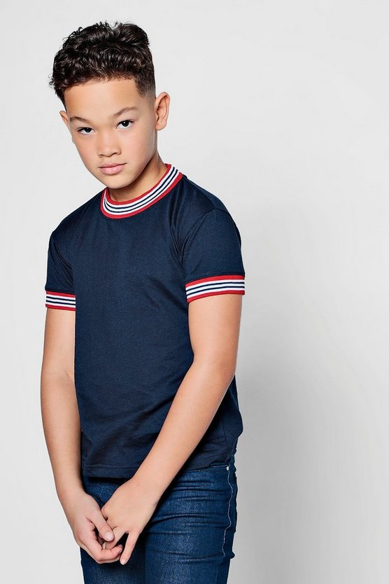 Boys Stripe With Panel Crew Neck