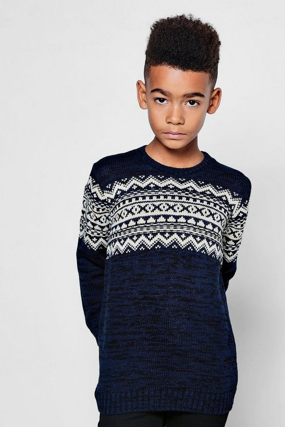 Boys Fairisle Yoke Chunky Crew Jumper