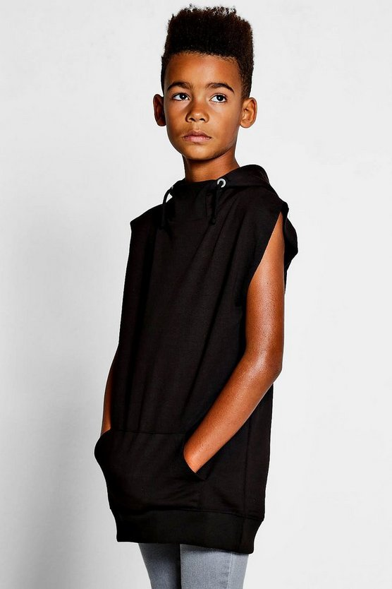 Boys Snorkel Neck Sleeveless Hoodie