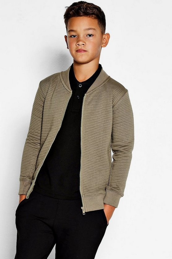 Boys Zip Through Jersey Bomber Jacket