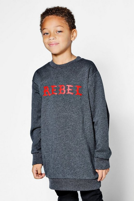 Boys Crew Neck Rebel Longline Sweat