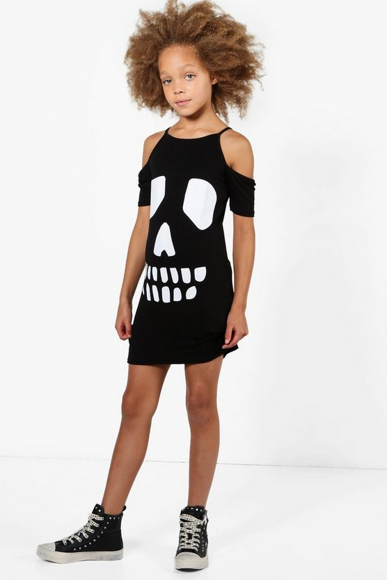 Girls Skull Cold Shoulder Dress