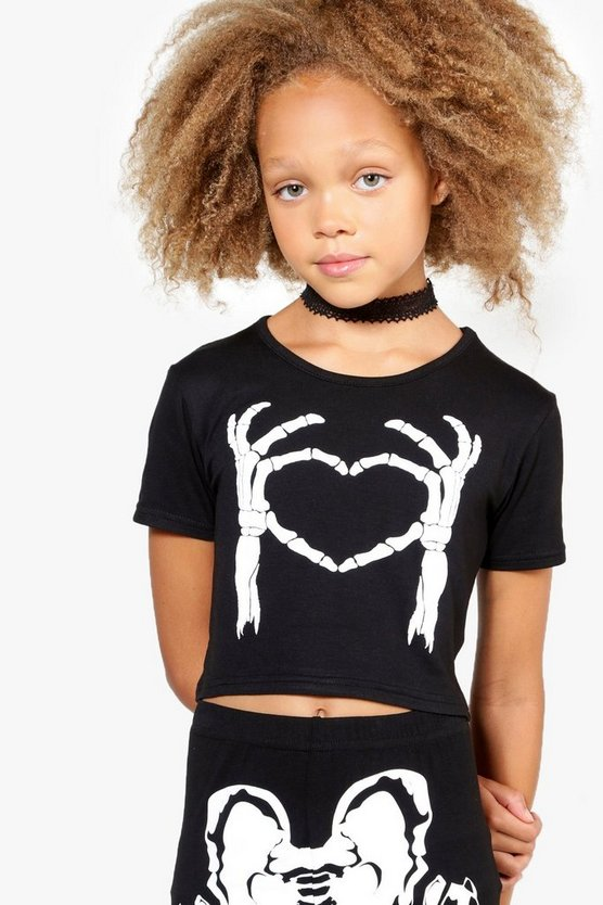 Girls Skeleton Heart Crop