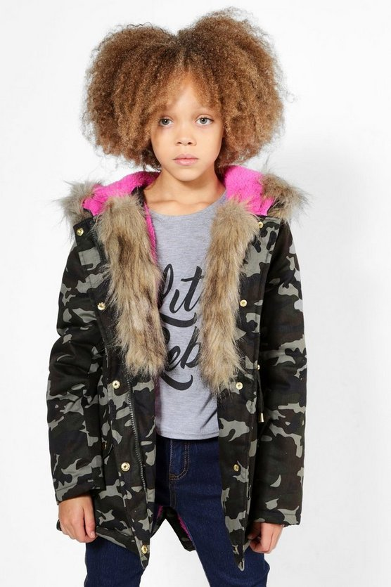 Girls Camo Padded Natural Faux Fur Parka