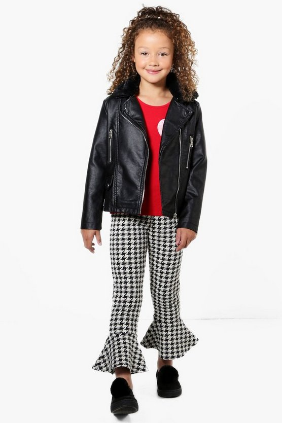 Girls Dogtooth Frill Bottom Trousers