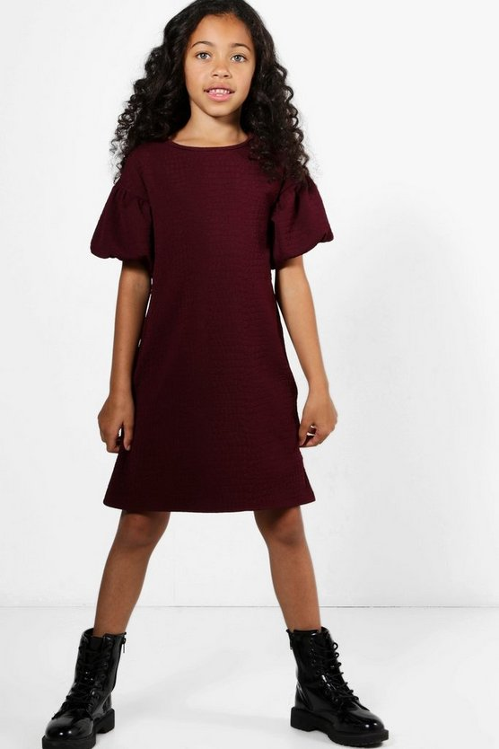 Girls Bubble Sleeve Textured Dress