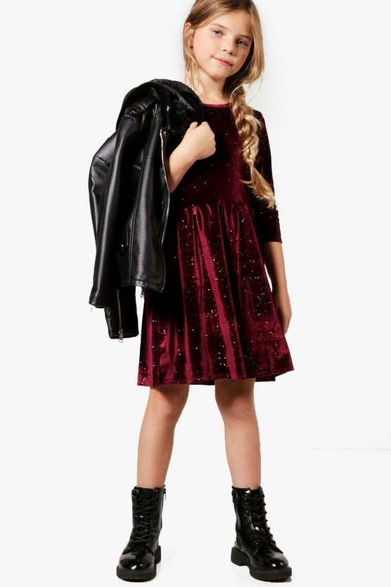 Girls Velour Skater Sparkly Dress