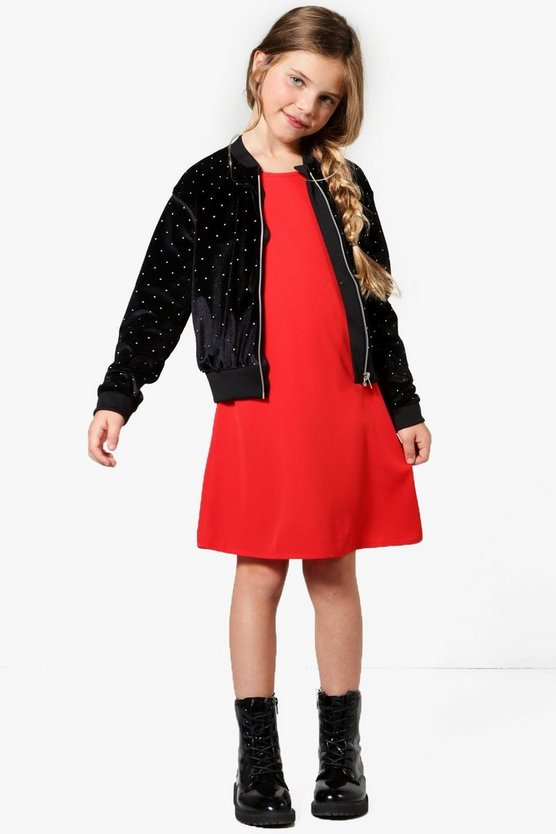 Girls Studded Velour Bomber Jacket