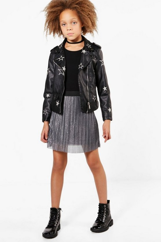 Girls Pleated Sparkle Mini Skirt