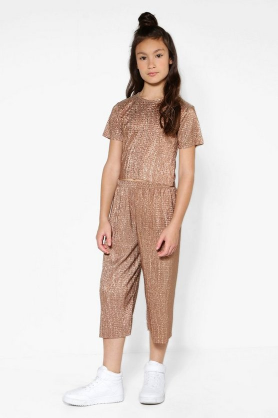 Girls Gold Foil Crinkle Trouser & Crop Set