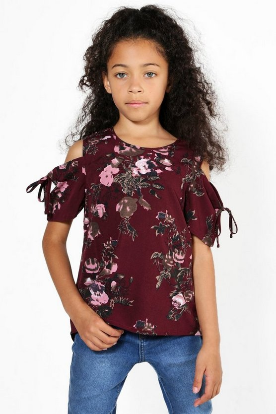 Girls Cold Shoulder Floral Tie Sleeve Blouse