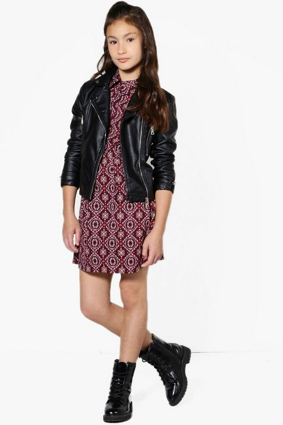 Girls Tile Print Shirt Dress