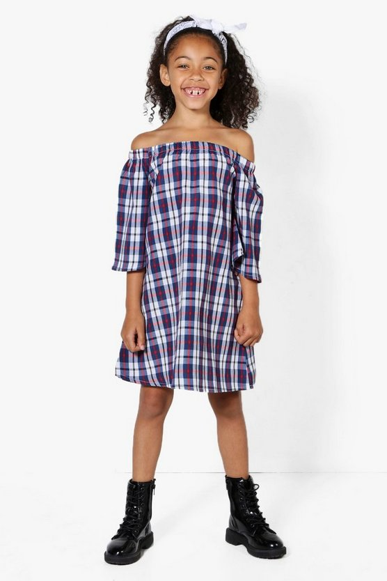 Girls Bardot Check Dress