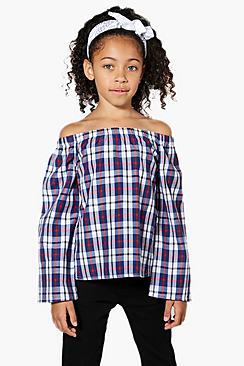 Mädchen schulterfreie karierte Bluse mit ausgestellten Ärmeln - Boohoo.com