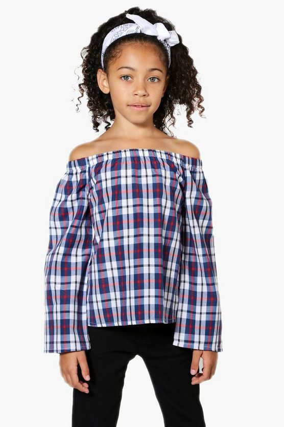 Girls Bardot Check Flare Sleeve Blouse