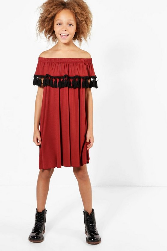 Girls Bardot Rust Tassel Dress