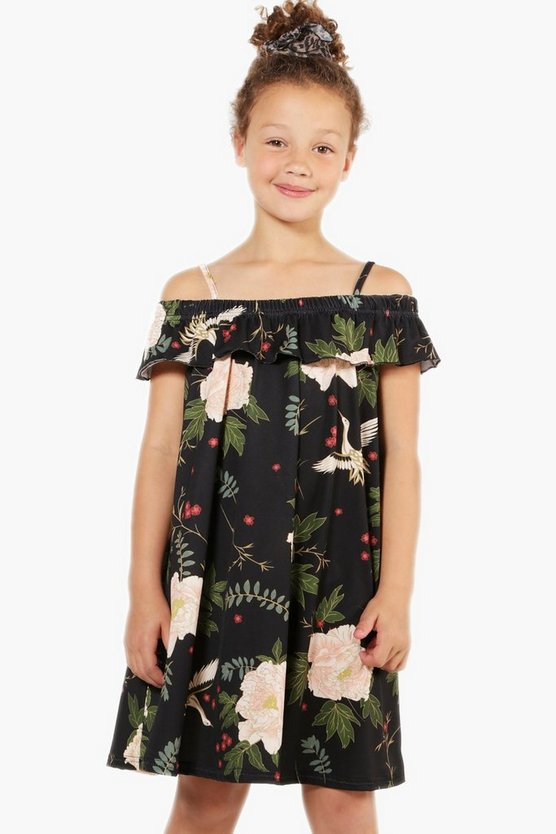 Girls Oriental Floral Bardot Dress
