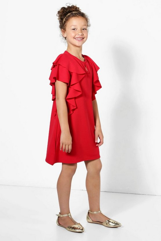 Girls Ruffle Front Shift Dress